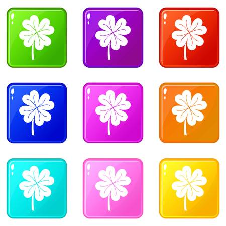 patric icon: Clover leaf icons 9 set Illustration