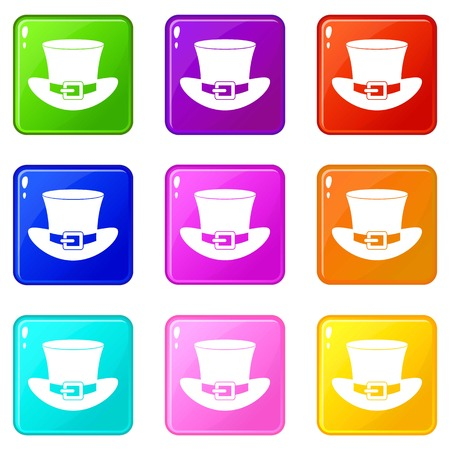 clovers: Top hat with buckle icons 9 set