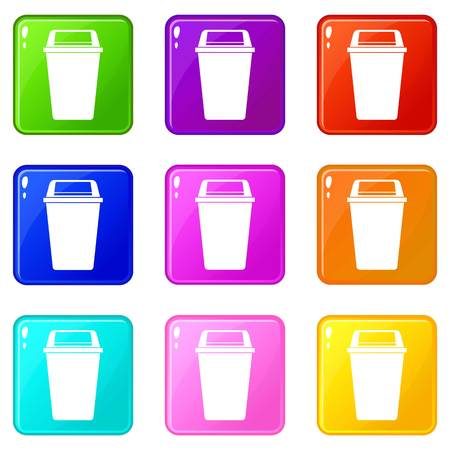 refuse: Plastic flip lid bin icons 9 set Illustration