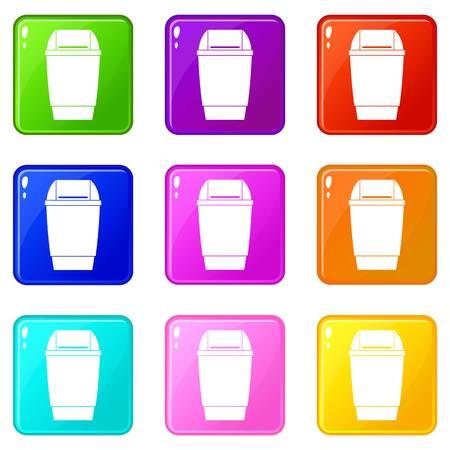 refuse: Flip lid bin icons 9 set Illustration