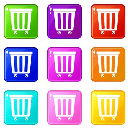 refuse: Outdoor plastic trash can icons 9 set