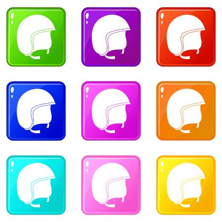 racing sign: Safety helmet icons 9 set