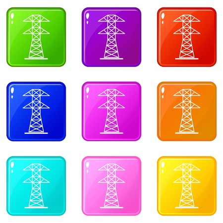 High voltage tower icons 9 set