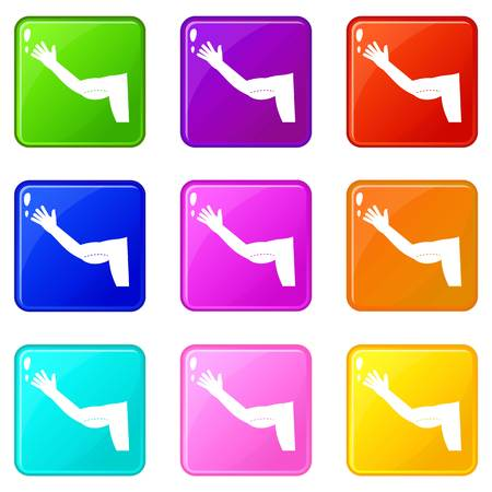 Flabby arm cosmetic correction icons 9 set