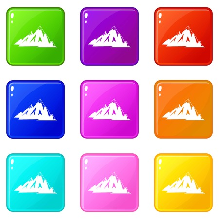 rockies: Canadian mountains icons 9 set
