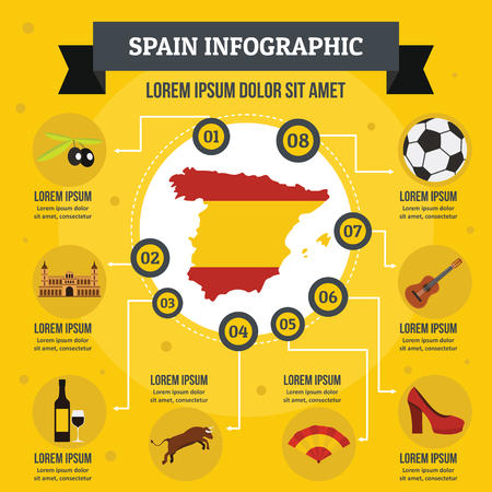 Spain infographic concept, flat style Illustration