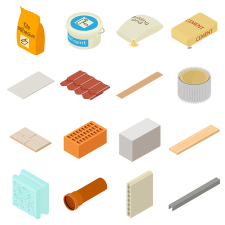 aerated: Building materials icons set, isometric style