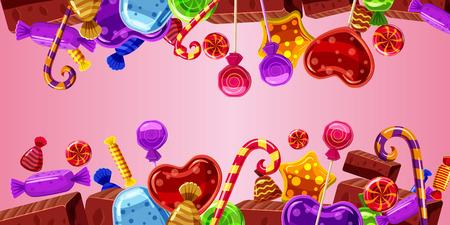 Dulces pasteles bandera horizontal rosa, estilo de dibujos animados Foto de archivo - 82155206