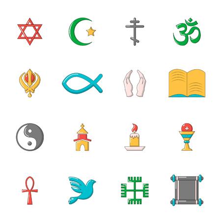 nirvana: Religion icons set, cartoon style