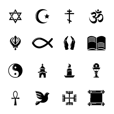 aum: Religion icons set, simple style Illustration