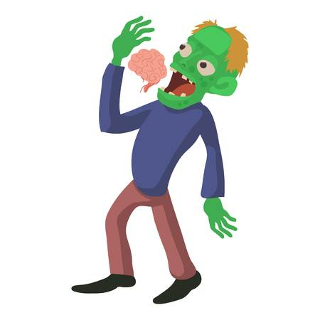Zombie is eating brains icon, cartoon style Illustration