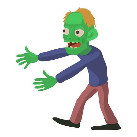 Walking zombie icon, cartoon style Illustration
