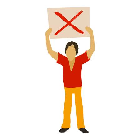 Man protest with sign icon, cartoon style