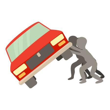 People overturned car icon, cartoon style Illustration