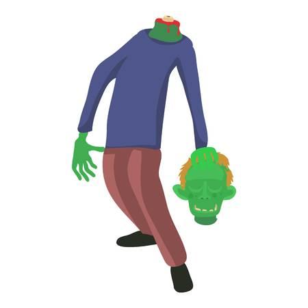 rotten teeth: Zombie without head icon, cartoon style Illustration