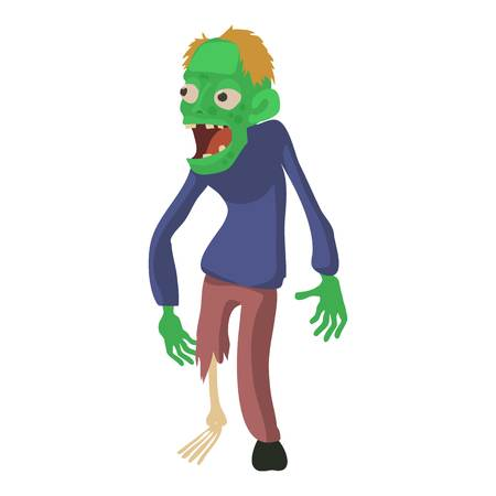 Zombie without a leg icon, cartoon style illustration.