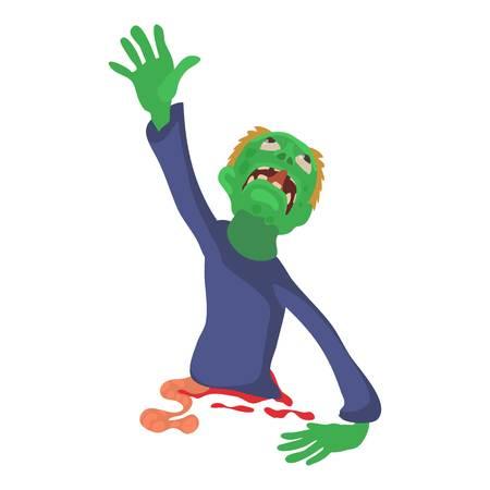 Zombie without lower body icon, cartoon style illustration. Illustration