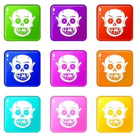 Living dead icons of 9 color set isolated vector illustration