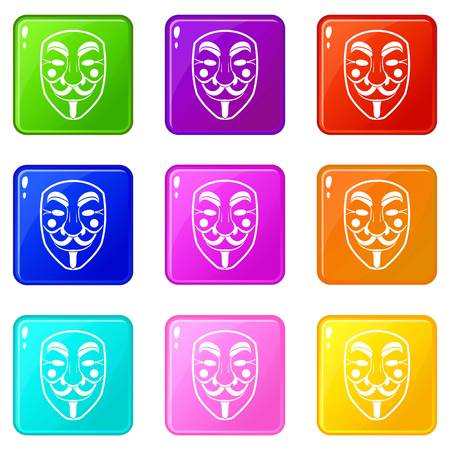 fawkes: Vendetta mask icons of 9 color set isolated vector illustration
