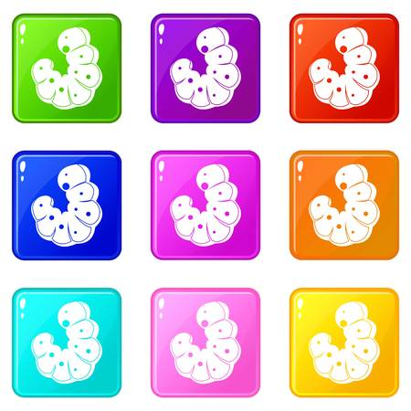 Worm icons of 9 color set isolated vector illustration