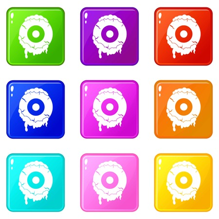 phlegm: Scary eyeball icons of 9 color set isolated vector illustration