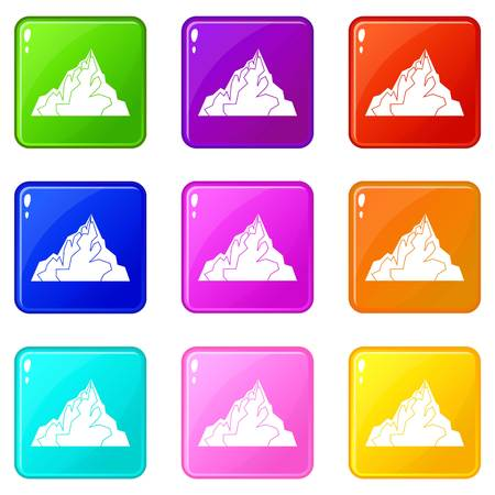 Iceberg icons of 9 color set isolated vector illustration Illustration