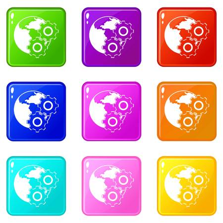 World planet and gears icons 9 set Illustration