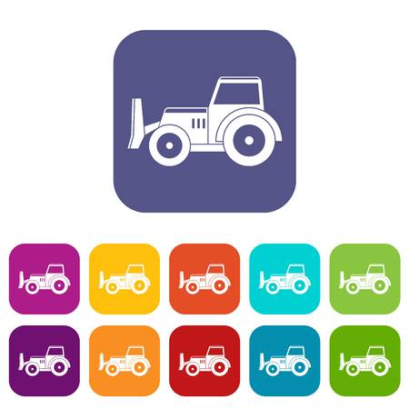 Skid steer loader bulldozer icons set vector illustration in flat style In colors red, blue, green and other