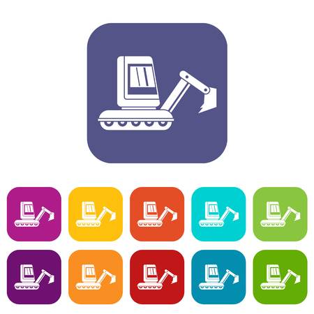 heavy construction: Mini excavator icons set vector illustration in flat style In colors red, blue, green and other Illustration