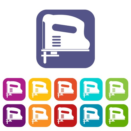 pneumatic: Pneumatic gun icons set vector illustration in flat style In colors red, blue, green and other Illustration