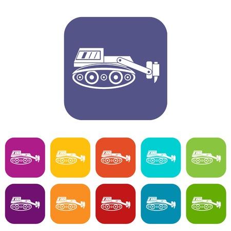 油圧ハンマーのアイコンとショベルは、赤、青、緑、その他の色でフラット スタイルのベクトル図をセット