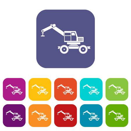 lifter: Crane truck icons set vector illustration in flat style In colors red, blue, green and other
