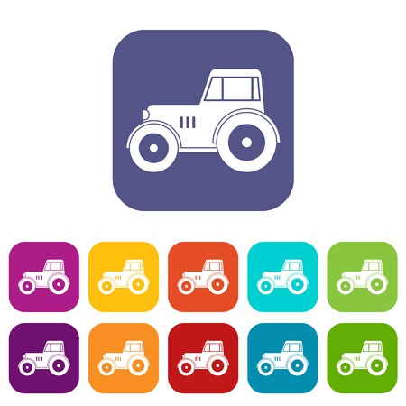 heavy construction: Tractor icons set vector illustration in flat style In colors red, blue, green and other Illustration