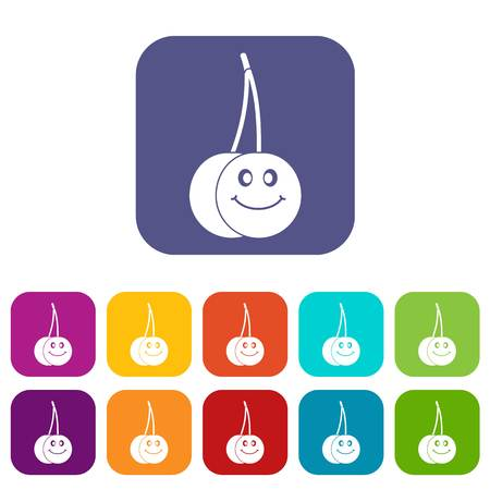 glace: Ripe smiling cherry icons set vector illustration in flat style In colors red, blue, green and other