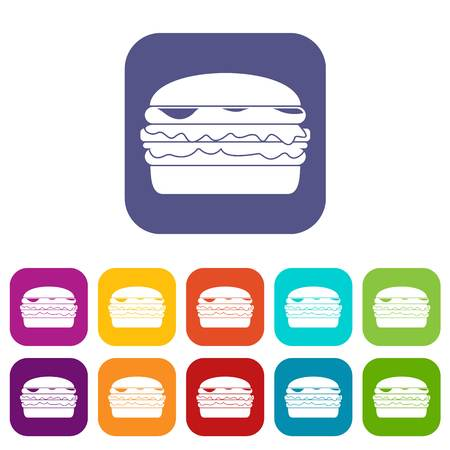 blue cheese: Burger icons set flat