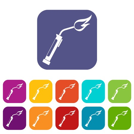 Welding torch icons set flat Illustration