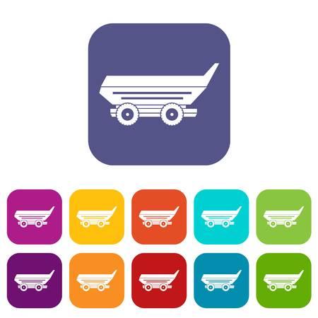 cushy: Cart trailer icons set flat Illustration