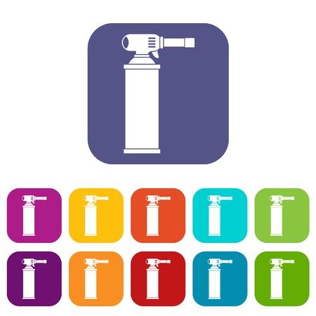 Gas cylinder icons set flat Illustration