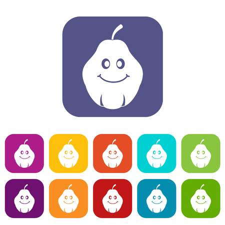 Smiling quince fruit icons set flat Illustration