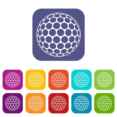 dimple: Golf ball icons set flat