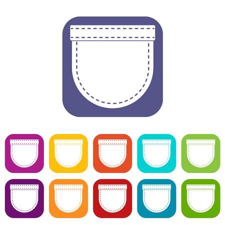Shirt pocket icons set flat Illustration