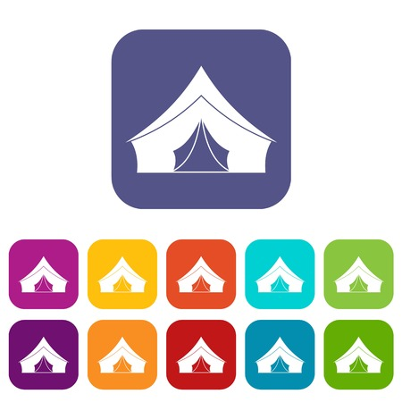 Tent with a triangular roof icons set flat