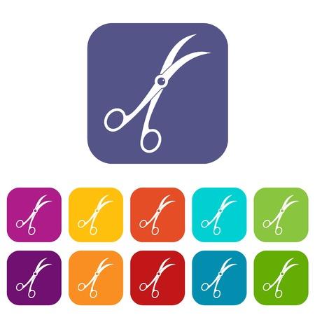 Surgical scissors icons set flat