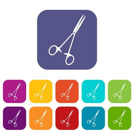 Medical clamp scissors icons set flat