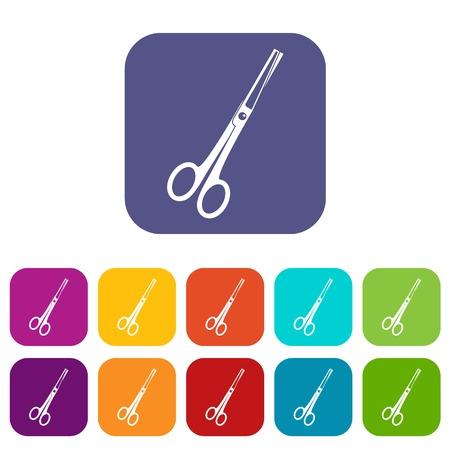 Steel scissors icons set flat Illustration