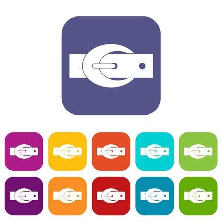 waistband: Oval belt buckle icons set flat