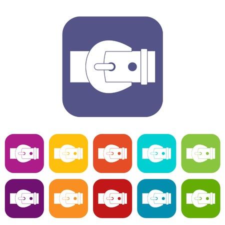 Buckle icons set flat Illustration