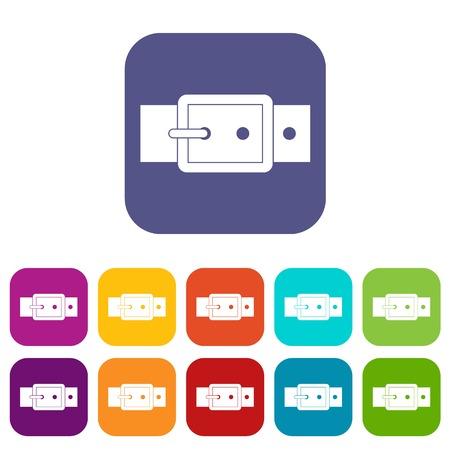 waistband: Black buckle belt icons set flat