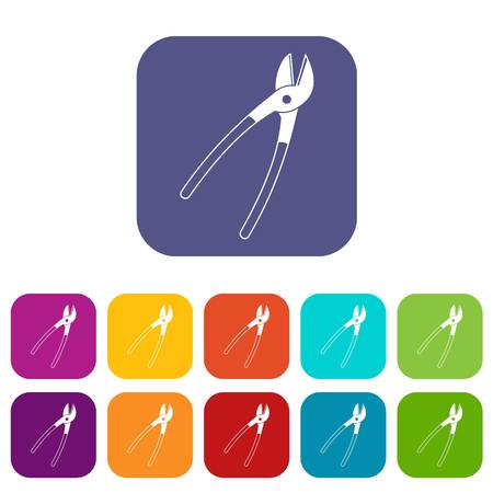 Metal shears icons set flat Illustration