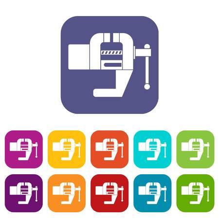 Vise tool icons set flat Ilustração